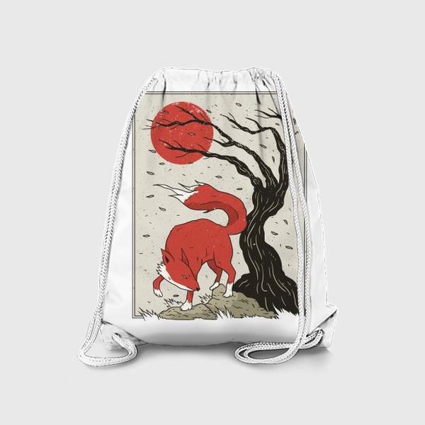 Рюкзак «Пейзаж с лисой в японском стиле»