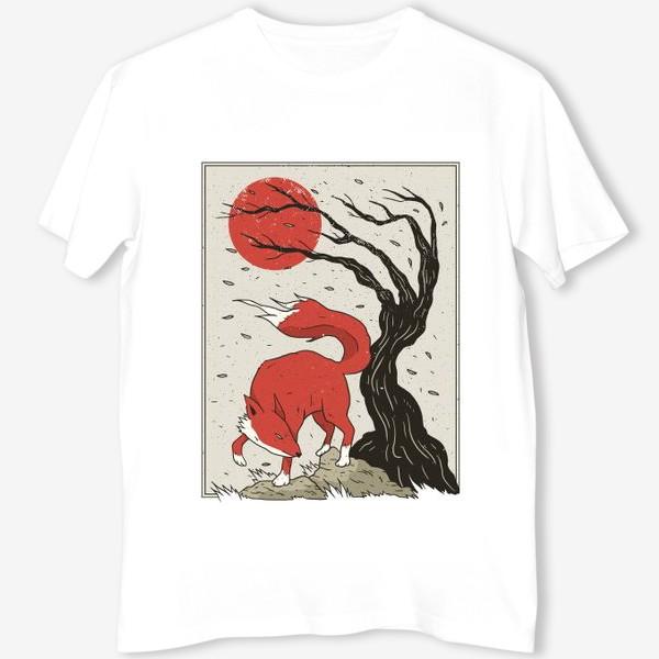 Футболка «Пейзаж с лисой в японском стиле»