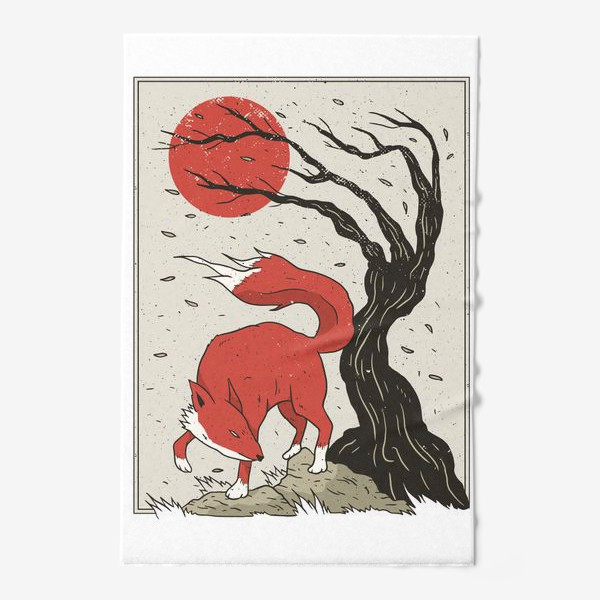 Полотенце «Пейзаж с лисой в японском стиле»