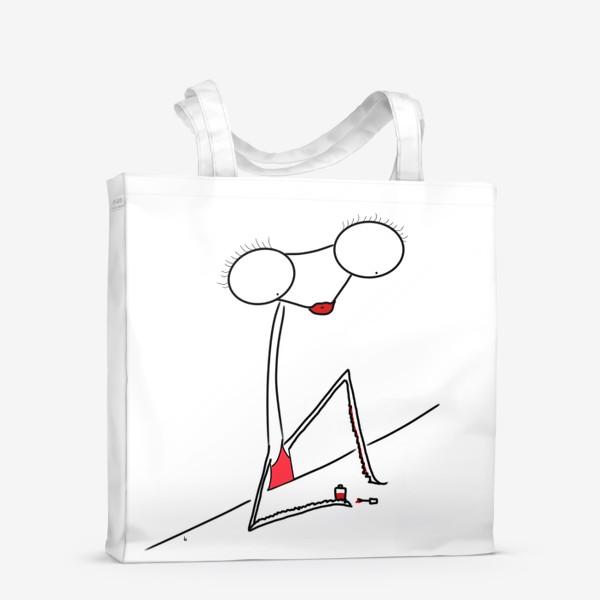 Сумка-шоппер «Богомолка бьюти-блогер. Маникюр. Ноготочки. Lady in red»