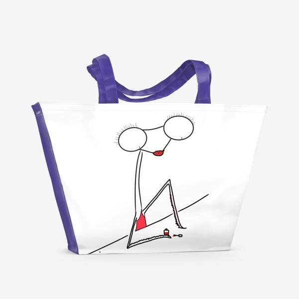 Пляжная сумка «Богомолка бьюти-блогер. Маникюр. Ноготочки. Lady in red»