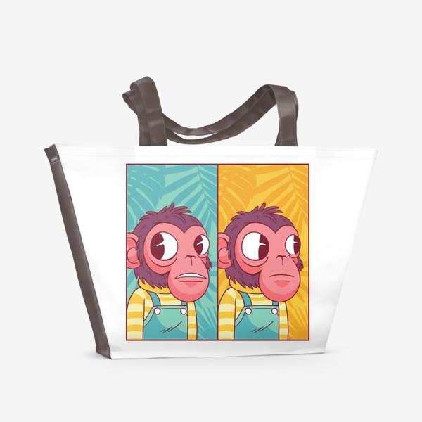 Пляжная сумка «Обезьянка из мема»