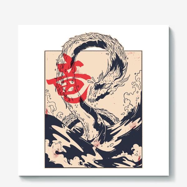Холст «Морской дракон в японском стиле»