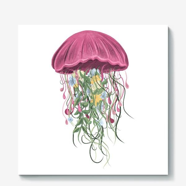 Холст «Медуза и цветы»