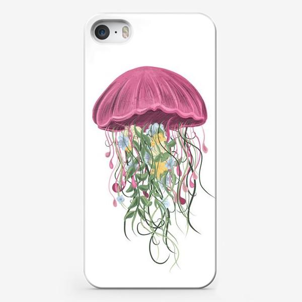 Чехол iPhone «Медуза и цветы»