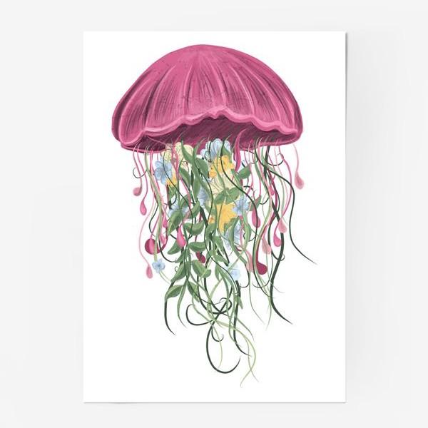 Постер «Медуза и цветы»
