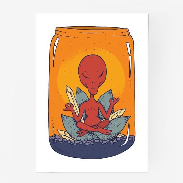 Постер «Медитация пришельца в банке»