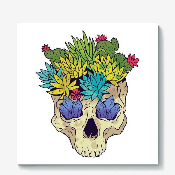 Холст «Череп с кактусами и кристаллами»
