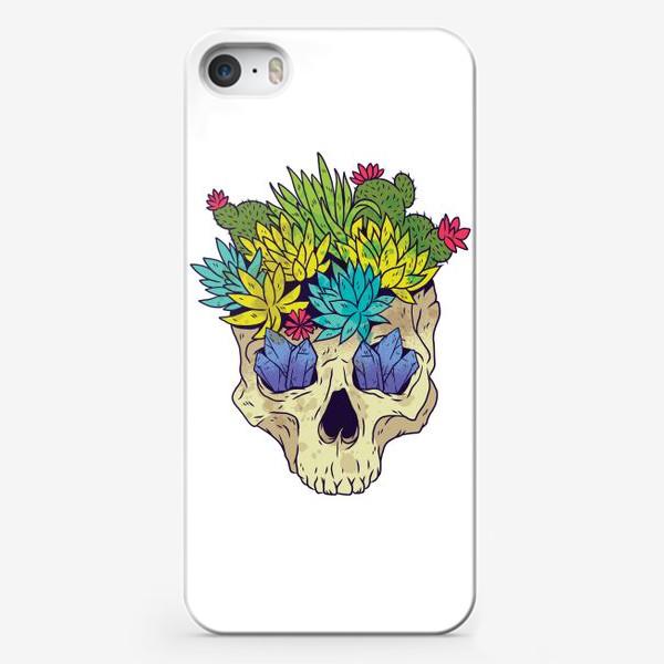 Чехол iPhone «Череп с кактусами и кристаллами»
