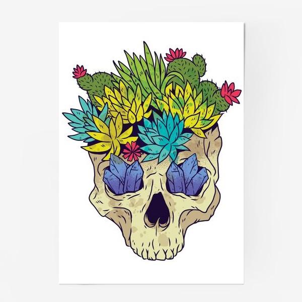 Постер «Череп с кактусами и кристаллами»