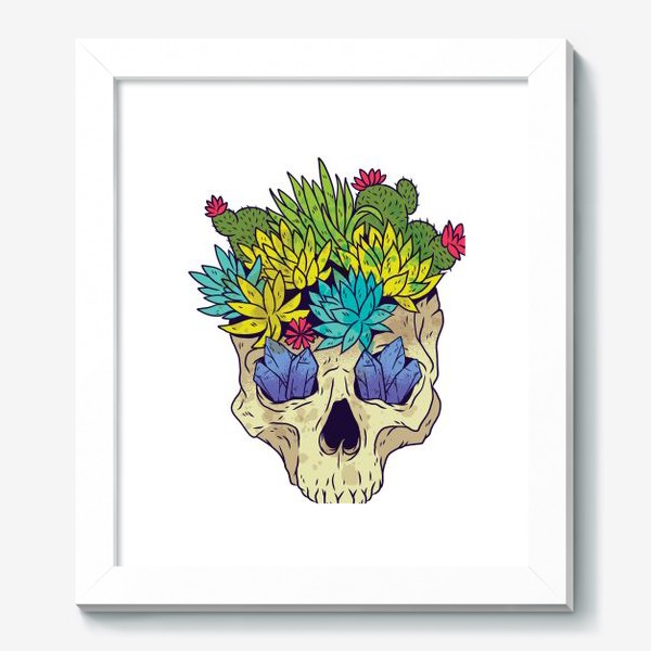Картина «Череп с кактусами и кристаллами»
