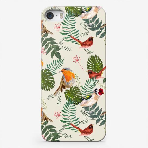 Чехол iPhone «Листья и птицы»