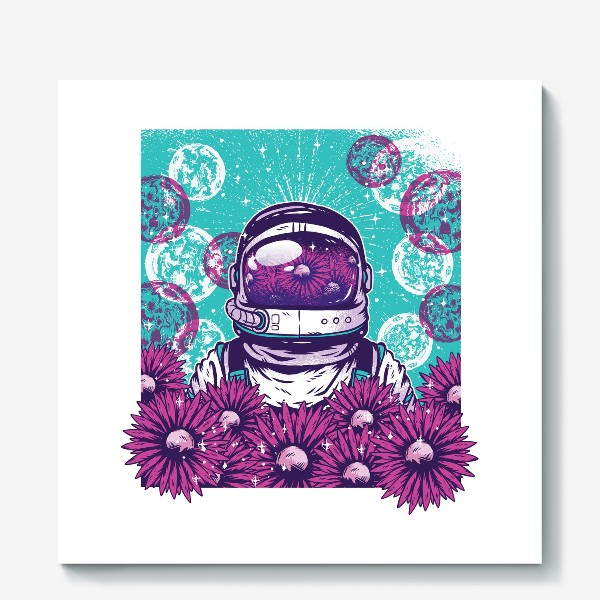 Холст «Космонавт с цветами»