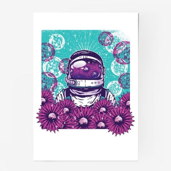 Постер «Космонавт с цветами»