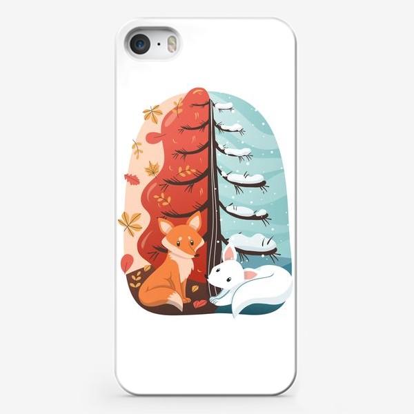 Чехол iPhone «Лисички - Осень и Зима»