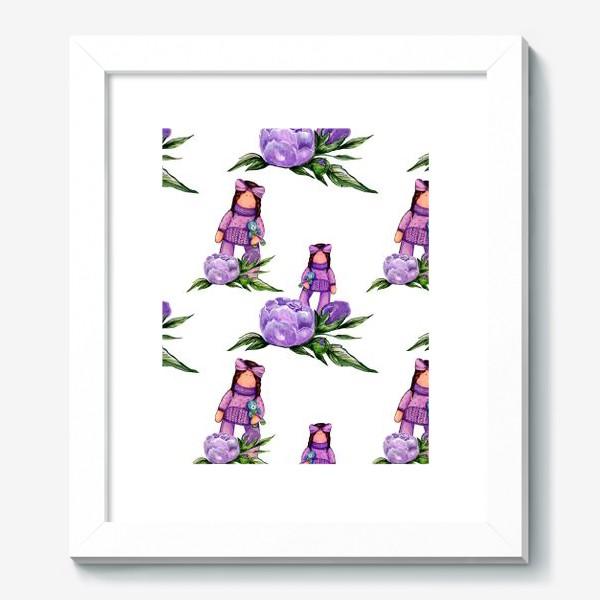 Картина «Нежные пионы и куколка»