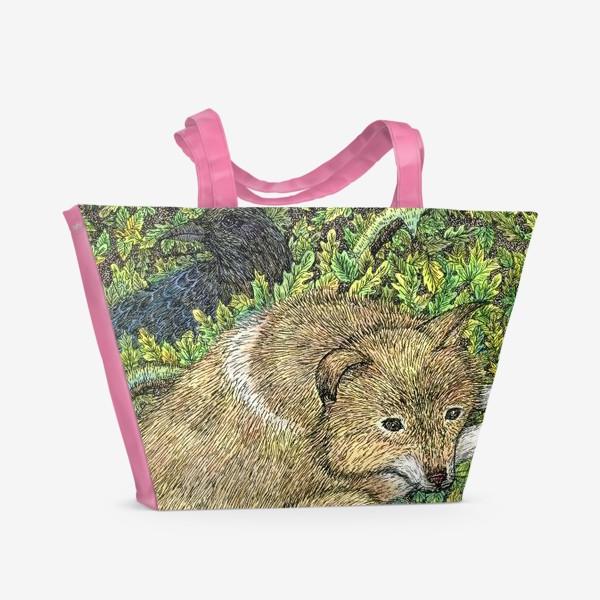 Пляжная сумка «Собака и ворон»