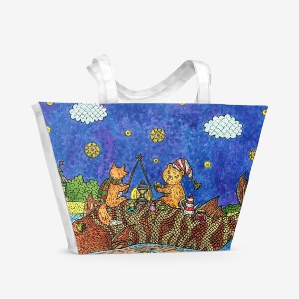 Пляжная сумка «Лисенок и мишка»