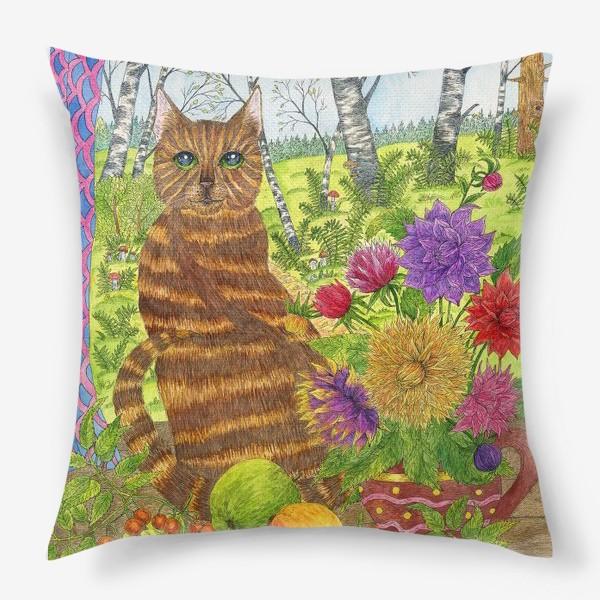 Подушка «Кошка и букет георгинов»
