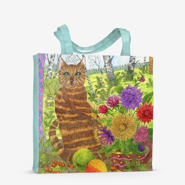 Сумка-шоппер «Кошка и букет георгинов»