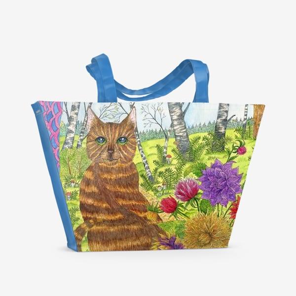 Пляжная сумка «Кошка и букет георгинов»