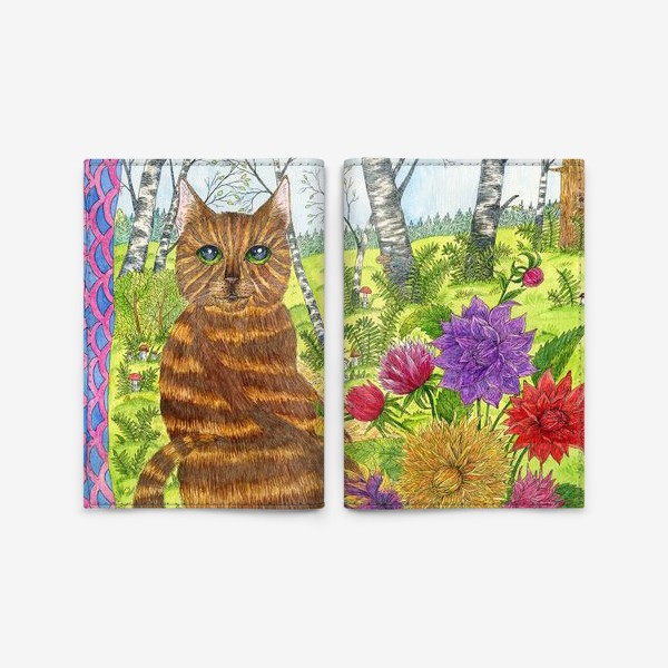 Обложка для паспорта «Кошка и букет георгинов»