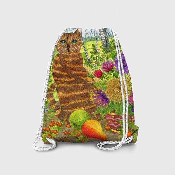 Рюкзак «Кошка и букет георгинов»
