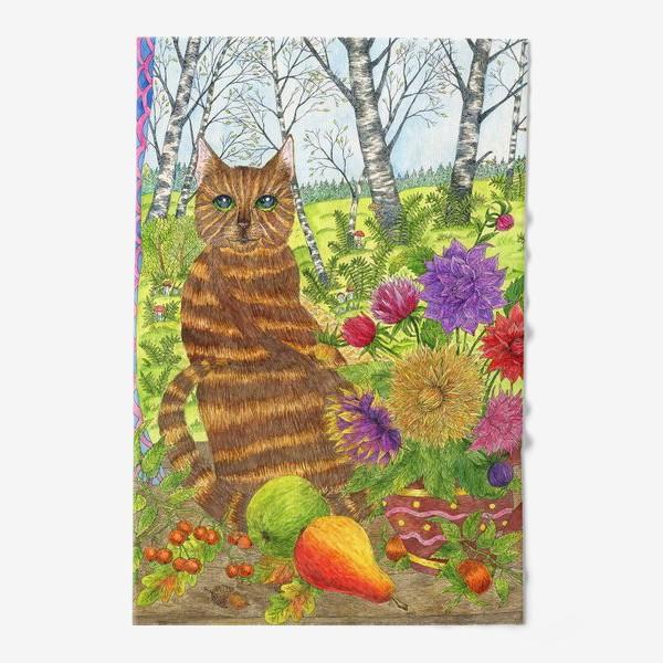 Полотенце «Кошка и букет георгинов»