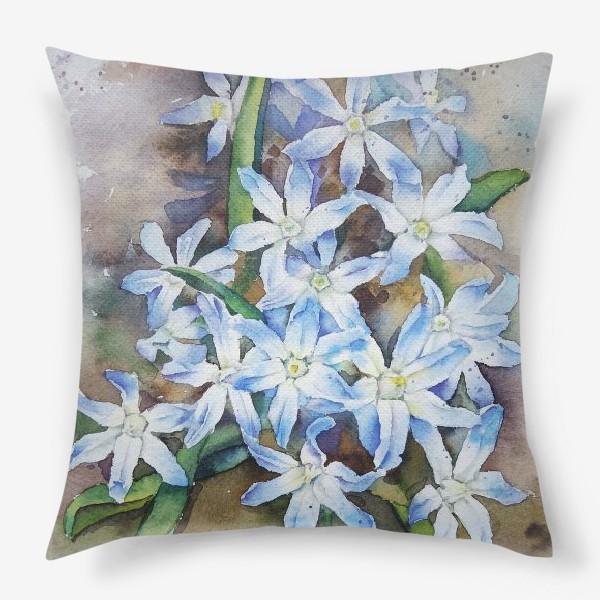 Подушка «Акварель Голубые цветы»