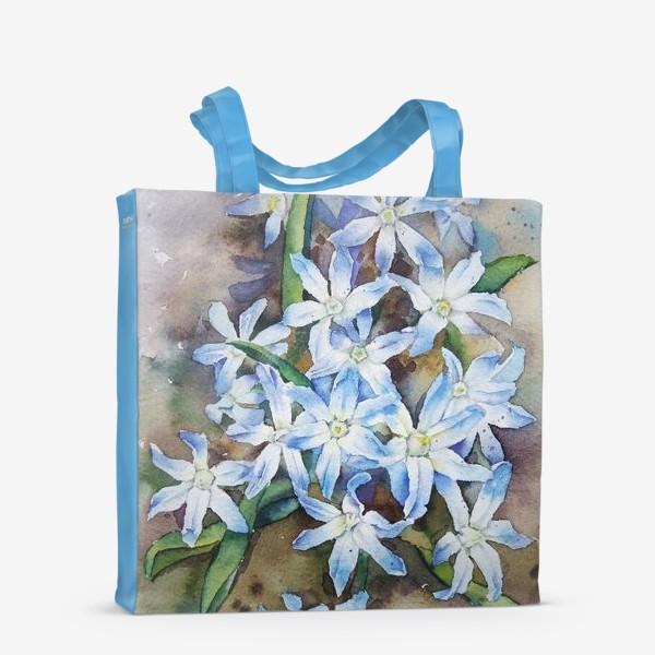 Сумка-шоппер «Акварель Голубые цветы»