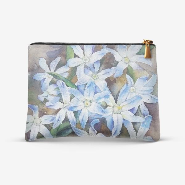 Косметичка «Акварель Голубые цветы»