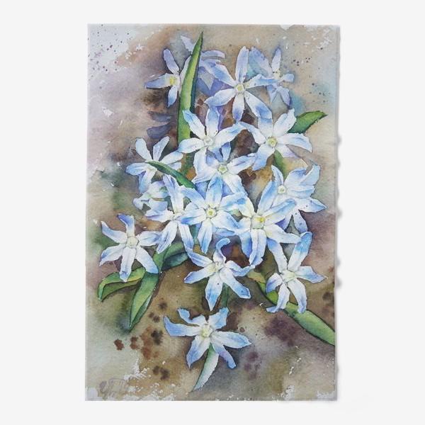 Полотенце «Акварель Голубые цветы»