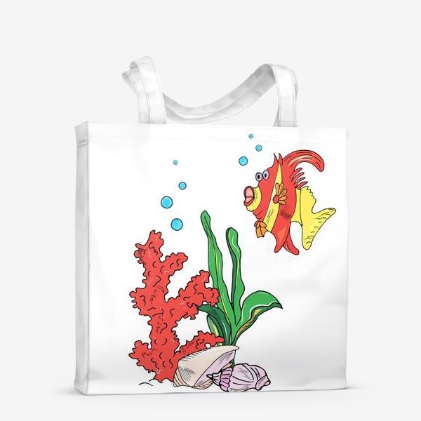 Сумка-шоппер «красная рыбка и кораллы»
