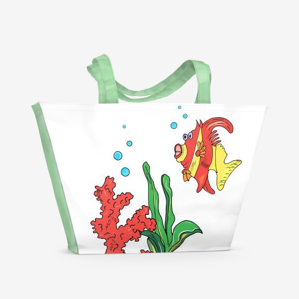 Пляжная сумка «красная рыбка и кораллы»