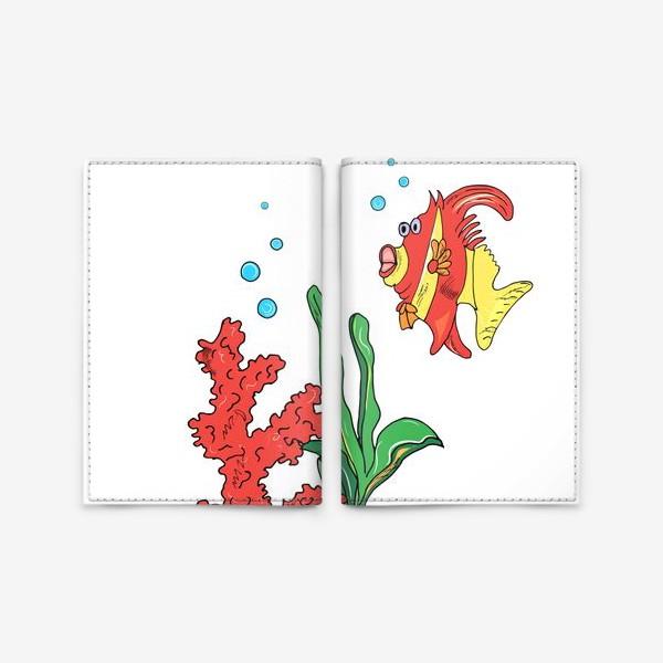 Обложка для паспорта «красная рыбка и кораллы»