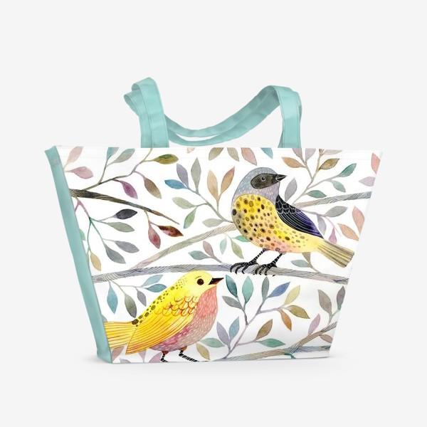 Пляжная сумка «Птицы на веточках»