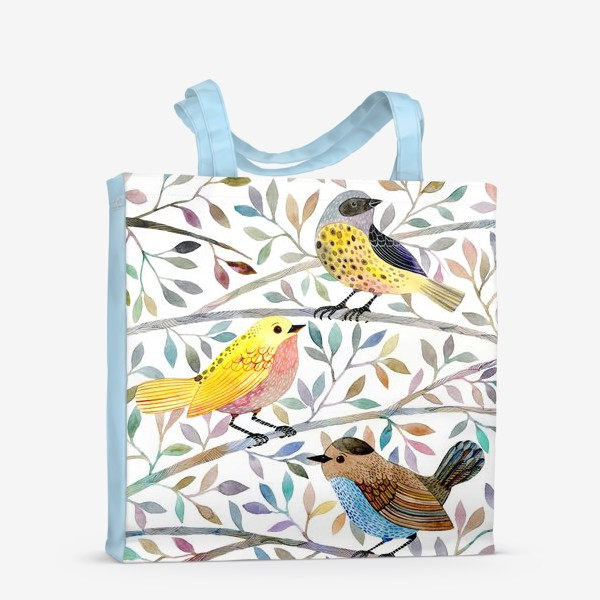 Сумка-шоппер «Птицы на веточках»