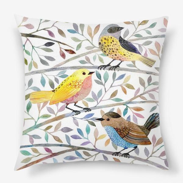 Подушка «Птицы на веточках»