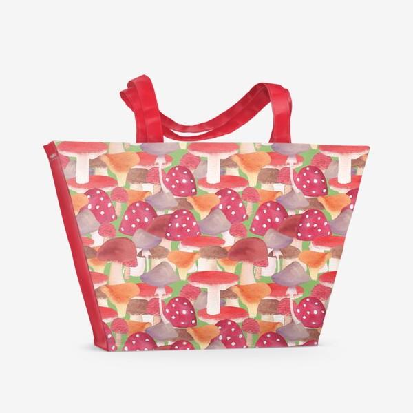 Пляжная сумка «Грибной лес. Поляна грибов»