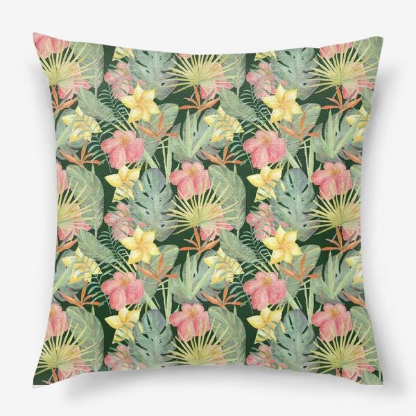 Подушка «Тропический лес. Листья и цветы джунглей»