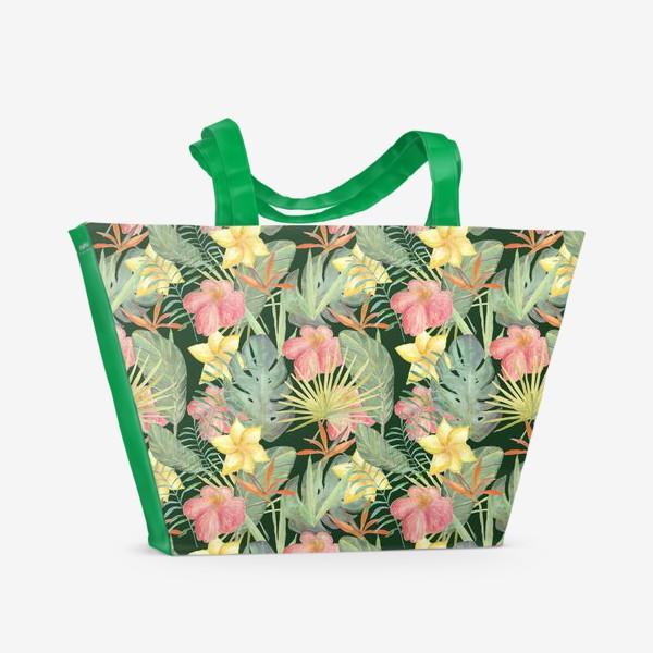 Пляжная сумка «Тропический лес. Листья и цветы джунглей»