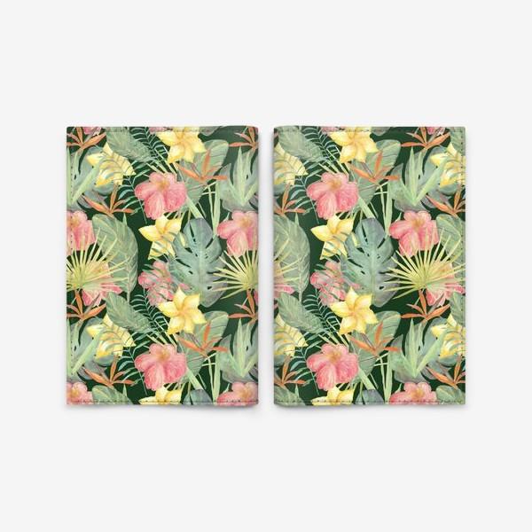 Обложка для паспорта «Тропический лес. Листья и цветы джунглей»