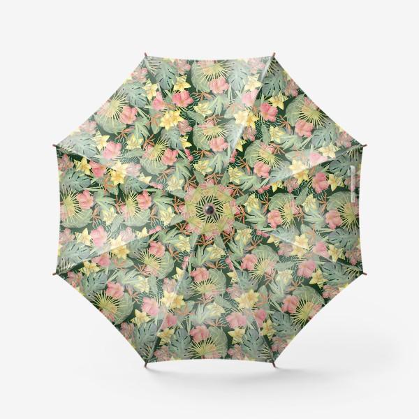 Зонт «Тропический лес. Листья и цветы джунглей»