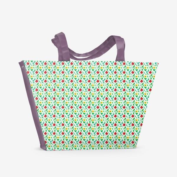 Пляжная сумка «Паттерн летний луг»