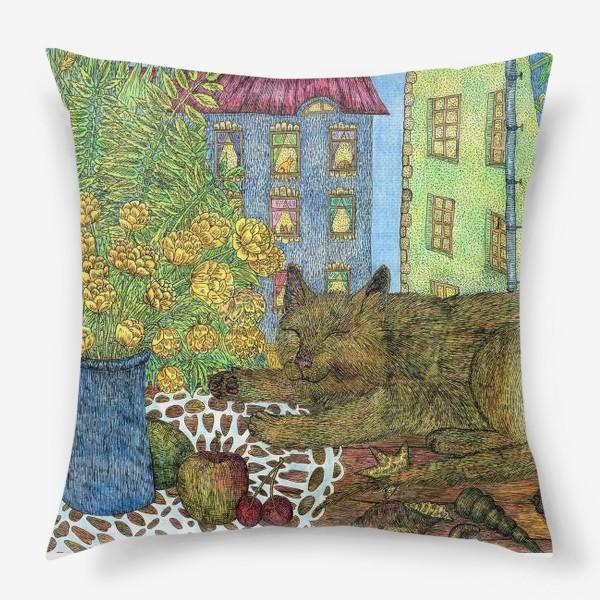 Подушка «Кот и весенние цветы»