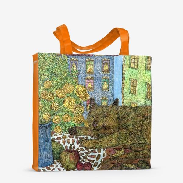 Сумка-шоппер «Кот и весенние цветы»