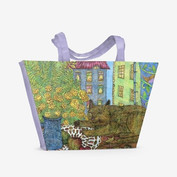Пляжная сумка «Кот и весенние цветы»