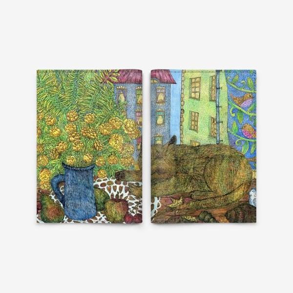 Обложка для паспорта «Кот и весенние цветы»