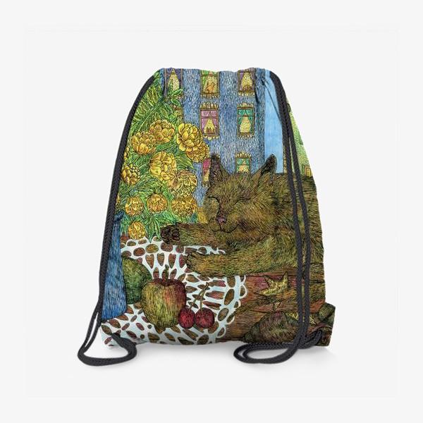 Рюкзак «Кот и весенние цветы»