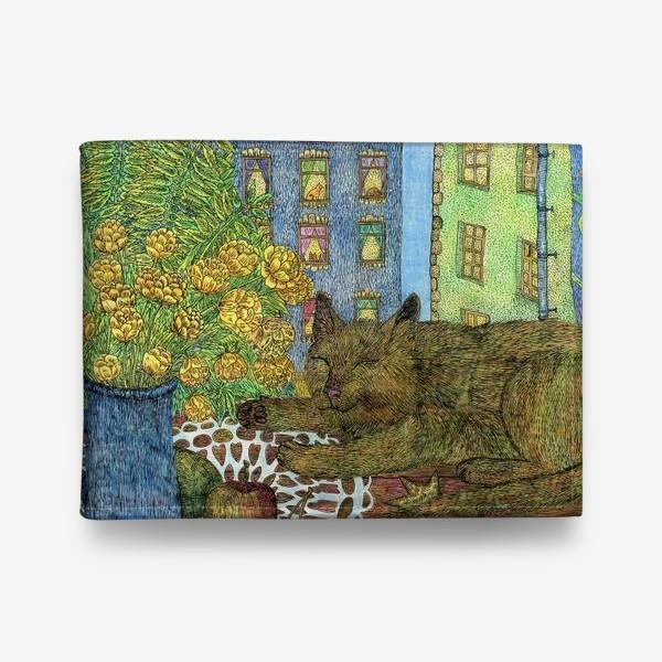 Кошелек «Кот и весенние цветы»